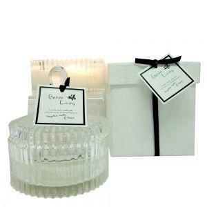Green Living small crystal soy jar candle in box - mangosteen vanilla & papaya