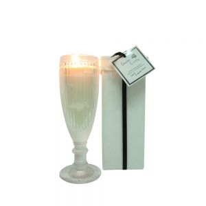 Green Living Vintage tall round glass cup candle in box - jasmine & gardenia woods