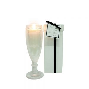 sj5L/mp : Green Living Vintage tall round glass cup candle in box - mangosteen vanilla & papaya
