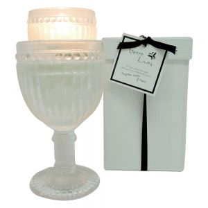 sj5s/mp : Green Living Vintage short round glass cup candle in box - mangosteen vanilla & papaya