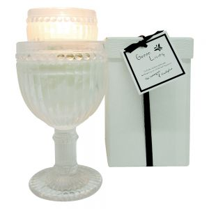 Green Living Vintage short round glass cup candle in box - thai lemongrass & eucalyptus