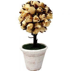 Small Timber Flower Topairy Tree Pot