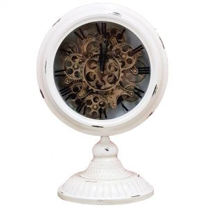 TQ-Y125A : Ingraham Round exposed gear movement clock w/ footed stand - white wash