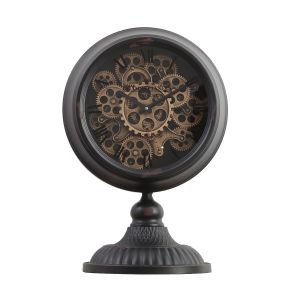 TQ-Y125B : Ingraham Round Exposed Gear Movement Clock w/ Footed Stand - Black Wash
