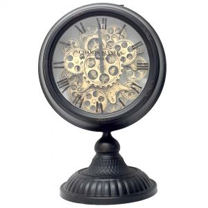 Ingraham Round Clock w/ footed stand - black wash