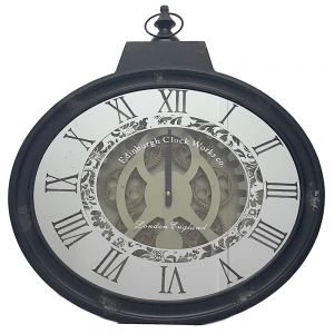 TQ-Y605 : Ragnar Mirrored Exposed gear Oval black movement wall clock
