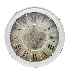 TQ-Y608 : Round 60cm Bassett Industrial exposed gear movement clock wall clock - white wash
