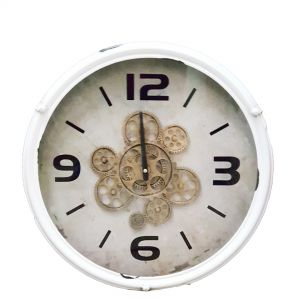 Henri modern round exposed gear clock - white