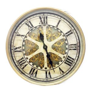 TQ-Y616 : D60cm Ragnar round exposed gear movement wall clock - Gold