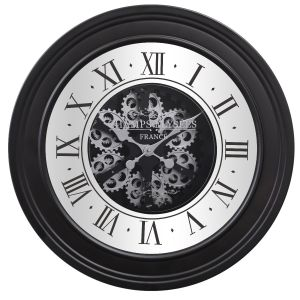 TQ-Y617 : D80cm Round French mirrored moving cogs wall clock - Black w/silver