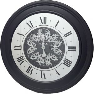 Large Auto wheel exposed gear clock - black w/silver