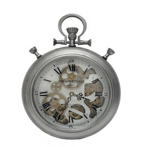 silver exposed gear clock antique wall clock