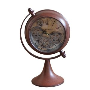 TQ-Y627 : Atlas bedside exposed gear clock -red rust wash **NOT AVAILABLE UNTIL FURTHER NOTICE**