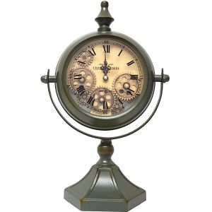 TQ-Y628 : Atlas bedside exposed gear movement clock - metallic green wash