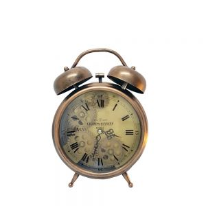 Newton bell exposed gear bedside clock - copper