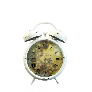 Newton bell exposed gear bedside clock - white