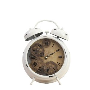 TQ-Y629B : Newton bell exposed gear movement bedside clock - white