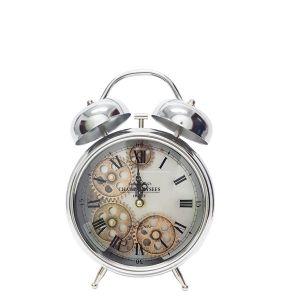 TQ-Y629C : Newton bell exposed gear movement bedside clock - silver
