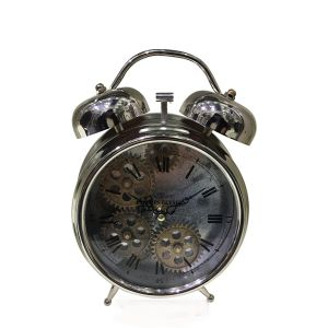 TQ-Y629C : Newton bell exposed gear movement bedside clock - silver **AVAIL LATE APRIL 2020**