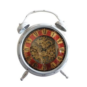 TQ-Y632 : Eddison exposed gear table clock - white **AVAIL END APRIL 2020**
