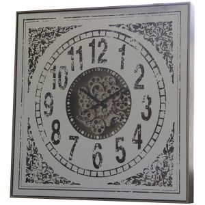 TQ-Y633 : 82cm Large Square Persian Mirrored Exposed Gear Clock  **AVAIL LATE APRIL 2020**