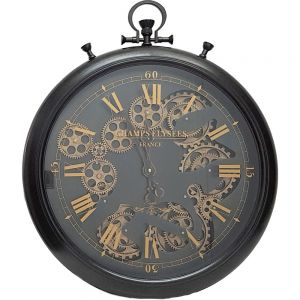 French chronograph exposed gear wall clock - black