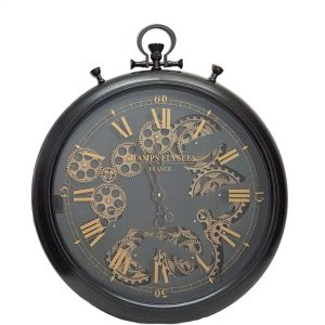 TQ-Y636 : D52cm French chronograph round exposed gear movement wall clock - Black