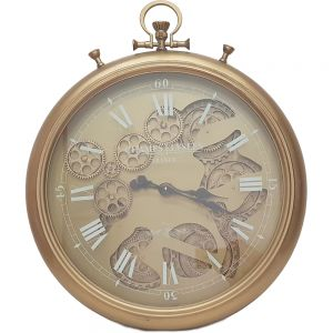 French chronograph exposed gear wall clock - gold