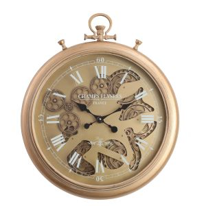 TQ-Y637 : D52cm French chronograph round exposed gear movement wall clock - Gold Wash