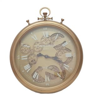 TQ-Y637 : D52cm French chronograph round exposed gear movement wall clock - Gold