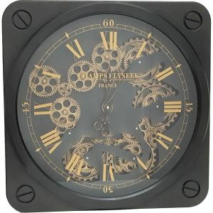 French Melrose Square exposed gear wall clock - black