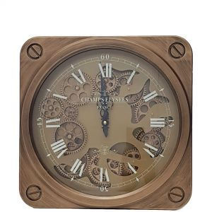 TQ-Y641 : 37x37cm French Melrose Exposed Gear Clock - Gold