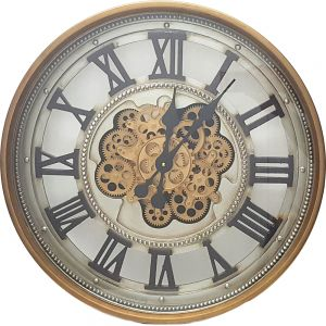 TQ-Y643 : D60cm Roman classic round exposed movement gear clock - Gold & black