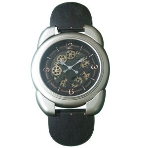 TQ-Y654 : Large wrist watch Exposed Gear Clock - Silver **AVAIL END APRIL 2020**
