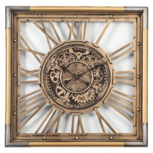 TQ-Y658 : Square 80cm Roma Exposed Gear Movement Wall Clock - Gold w/ silver