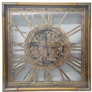 TQ-Y658 : 80x80cm Square Roma Exposed Gear movement wall Clock  - Gold & Silver