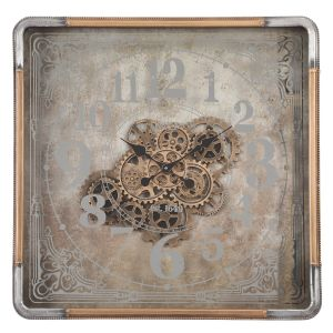 TQ-Y659 : Square 80cm Roma Mirrored Exposed Gears Movement Wall Clock - Gold