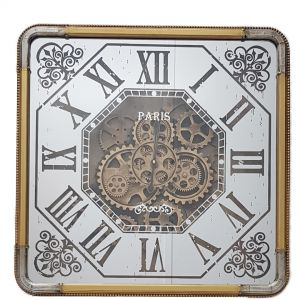 TQ-Y661 : 60x60cm Square Mirrored Roma Exposed Gear Movement Clock - Gold & Silver