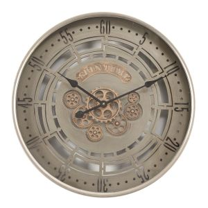 TQ-Y664 : D60cm Round Spin Time Modern Exposed Gear Movement Wall Clock - Grey
