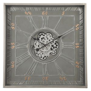 TQ-Y669 : 80cm Square Gary Exposed Gear Movement Clock - Grey **UNAVAILABE UNTIL FURTHER NOTICE**