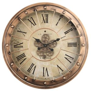 TQ-Y670 : D80cm Round Basset industrial exposed gear movement wall clock - Copper
