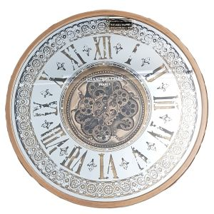 TQ-Y675 : D80cm Round Mirrored Persian Exposed Gear Movement Wall Clock - Gold