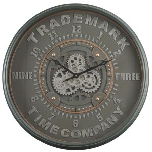 TQ-Y676 : D80cm Round Modern Trademark Exposed Gear Movement Wall Clock - Grey w/metal green