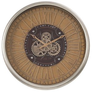 TQ-Y677 : D80cm Round Persian Exposed Gear Movement Wall Clock - Rustic wash