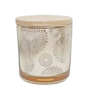 Luna gold canister w/wooden lid