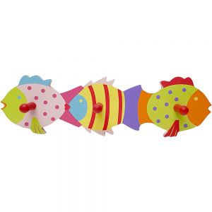wooden 3 hook wall panel - fish