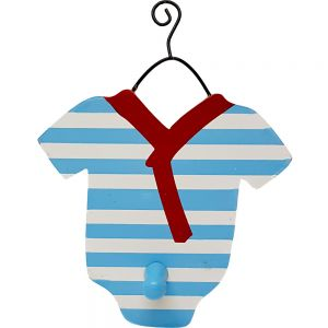 wooden baby range - coat hanger w/hook - baby w/stripe pattern