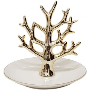 WG-1650 : ceramic plate jewellery ring holders - tree of life