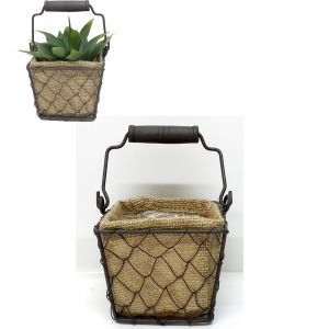 Jardin square wire hessian pot