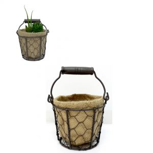 Jardin round wire hessian pot